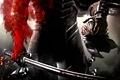 Картинка оружие, шлем, воин, красное, кровь, рубцы, броня, меч