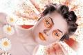 Картинка стиль, взгляд, ромашки, девушка, губы, цветочки, волосы