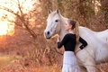 Картинка конь, девушка, природа