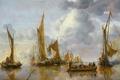 Картинка парус, морской пейзаж, Салют с Правительственного Шлюпа, Ян ван де Капелле, корабль, картина