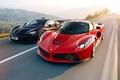 Картинка McLaren, Power, Red, Black, Ferrari, Sun, Road, Speed, Front, LaFerrari, Supercars, Lead