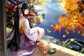 Картинка Девушка, гейша, озеро, осень