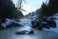 Картинка зима, лес, снег, природа, река, камни, холмы, арт