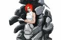 Картинка взгляд, арт, фон, красные волосы, девушка, sci-fi, фантастика, робот, перчатки