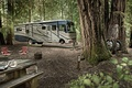 Картинка автобус, колеса, йети, лес, кемпинг