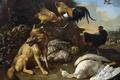 Картинка картина, Мельхиор де Хондекутер, Натюрморт с Лисой и Убитым ею Гусем, жанровая, животные