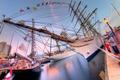 Картинка Пирс, яхты, люди, фонари