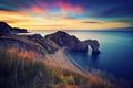 Картинка море, скалы, Англия, утро, арка, durdle door