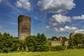 Картинка стены, Германия, деревья, кусты, развалины, крепость, башня, Burg Balduinstein Ruine, небо, трава, облака