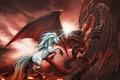 Картинка Дракон, единорог, бой, dragon, drawings, fire, mythology
