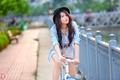 Картинка девушка, велосипед, азиатка