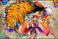 Картинка Художница, кисточка, тигр, узоры, рисунок