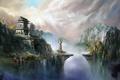 Картинка ущелье, дом, азия, горы, статуя, водопад, облака
