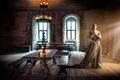 Картинка комната.зал, девушка, свечи, средневековье, Middle Ages