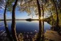 Картинка восход, рассвет, деревья, озеро