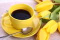 Картинка цветы, flowers, cup, чашка, yellow, кофе, tulips, тюльпаны, coffee, breakfast