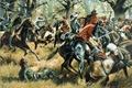 Картинка оружие, картина, холст, масло, схватка, художник Дон Трояни, Cowpens, американские драгуны, английские кавалеристы, экипировка, 17 ...