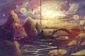 Картинка нарисованный пейзаж, полёт, арт, фантазия, одуванчики, река