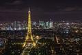Картинка огни, ночь, эйфелева башня, Франция, Париж, панорама