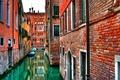 Картинка Каналы, венеция, италия, вода, кирпич, дома, стена