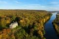 Картинка лес, река, осень, замок, Шато-де-ла-Мадлен, Нормандия, Франция, Сена
