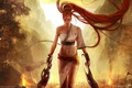 Картинка Heavenly sword, nariko, девушка, воин, огонь, горы