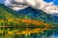 Картинка лес, небо, облака, деревья, горы, озеро, дом, отражение, склон