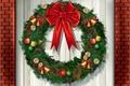 Картинка шишки, венок, новый год, фон, колокольчики