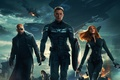 Картинка Scarlett Johansson, Girl, Red, Men, Guns, Marvel, Captain America, Black Widow, Battleship, Chris Evans, Natasha, ...