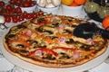 Картинка перец, помидоры, сыр, ветчина, грибы, пицца