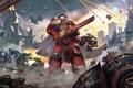Картинка оружие, корабли, взрывы, Eternal Crusade, битва, меч, броня, Warhammer 4000