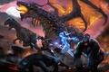 Картинка дракон, динозавр, горилла, art, dinosaur