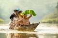 Картинка kids, children, лодка, river, мальчики, лист, boys, высокое качество, дети, Вьетнам, улыбки, смех, swimming, boat, ...