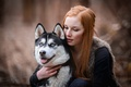 Картинка собака, настроение, девушка