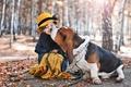 Картинка осень, ребенок, собака, девочка, друзья