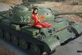 Картинка азиатка, платье, в красном, WZ-131, легкий, китайский, танк, девушка, рисунок, World of Tanks, дорога, арт, ...