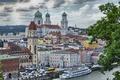 Картинка река, Бавария, небо, башня, Германия, дома, корабль, Пассау