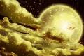 Картинка луна, небо, ночь, золотая рыбка
