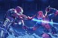 Картинка tony stark, Iron man vs deadpool, wade wilson, fight