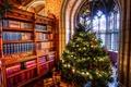 Картинка комната, книги, Праздник, окно, фреска, подарки, арка, шкаф, елка, Christmas, Новый год, Рождество, New year