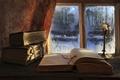 Картинка книги, свеча, read till morning, окно