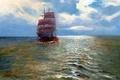 Картинка море, картина, корабль, паруса, Alfred Jansen, небо, пейзаж