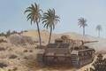 Картинка war, art, tank, ww2, panzer 3, africa korps, geman tank