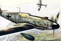 Картинка рисунок, арт, Messerschmitt, Ме-109, воздушный бой, Supermarine Spitfire, люфтваффе, подвесной бак, дномоторный поршневой истребитель-низкоплан, Bf ...
