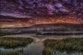 Картинка восход, туман, холм, кусты, река, облака