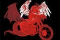 Картинка Мотоцикл, девушка, крылья, вектор