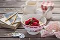 Картинка номерки, ягоды, малина, натюрморт, завтрак, творог, пиала
