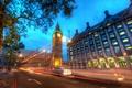 Картинка london, огни, Big Ben at Dusk, ночь, лондон, дорога