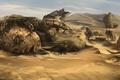Картинка скульптура, Пустыня, каменная женщина, развалины, песок
