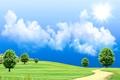 Картинка солнце, небо, поле, дорога, деревья, трава, облака